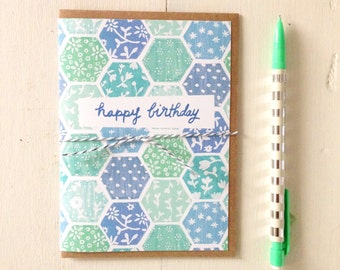 Happy Birthday Hexagon Card