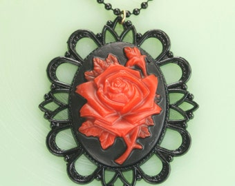 Red and Black Rose Cameo Necklace with Black Setting