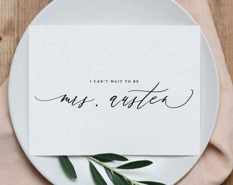 Custom I Can't Wait To Be Your Mrs., Personalised Wedding Card to Groom, I Can't Wait To Marry You Card, Custom To My Future Husband, K6