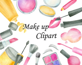 Makeup clipart, Watercolor makeup clip art, Cosmetics clipart, Nail polish Lipstic eyeshadow, Hand painted elements, cosmetics illustration