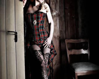 Corset and skirt in tartan design
