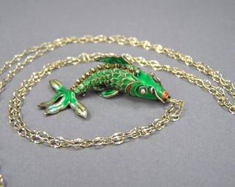 Enamel Fish Necklace, Articulated, Chinese Export, Emerald Green, Cloisonne, Enamel Fish Pendant, Vermeil, Wiggle Fish, Boho, Vintage