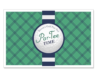 Golf Placemats - Par-Tee Time - Golf Birthday or Retirement Party Supplies - Personalized Table Decorations - Set of 12