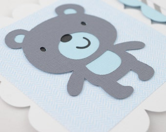 Teddy Bear Baby Banner, Boy Banner, TEDDY BEAR Banner, Teddy Bear Baby Shower, Teddy Bear Nursery Banner, Gray and Light Blue Chevron