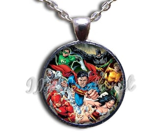 Justice League Comic Hero Glass Dome Pendant or with Chain Link Necklace FT150
