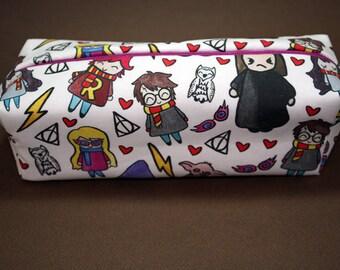 Boxy Makeup Bag- Harry Potter Cast Doodle- Pencil Pouch - Hermione Granger, Ginny & Ron Weasley, Severus Snape, Luna Lovegood