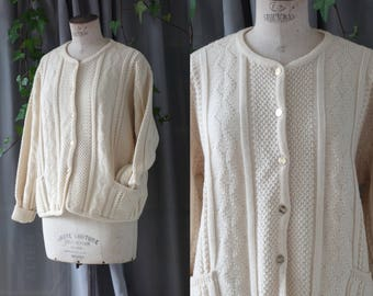 Clearance ! Woolmark cardigan | Off white irish knit sweater | 1980's by Cubevintage | large