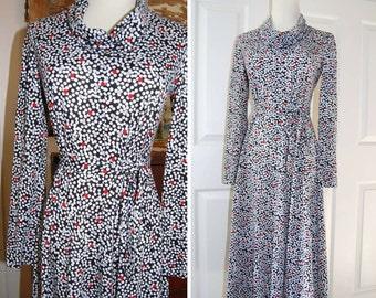 1970s - Dress - Cowl Neck Dress - Jersey Knit Dress - Hipster - Career Wear - Polka Dots - Long Sleeve Dress -  Red White Blue Grey - Small