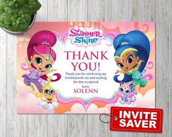 Shimmer and Shine thank you card, Shimmer and Shine Thank you, Shimmer and Shine thank you note, Shimmer and Shine