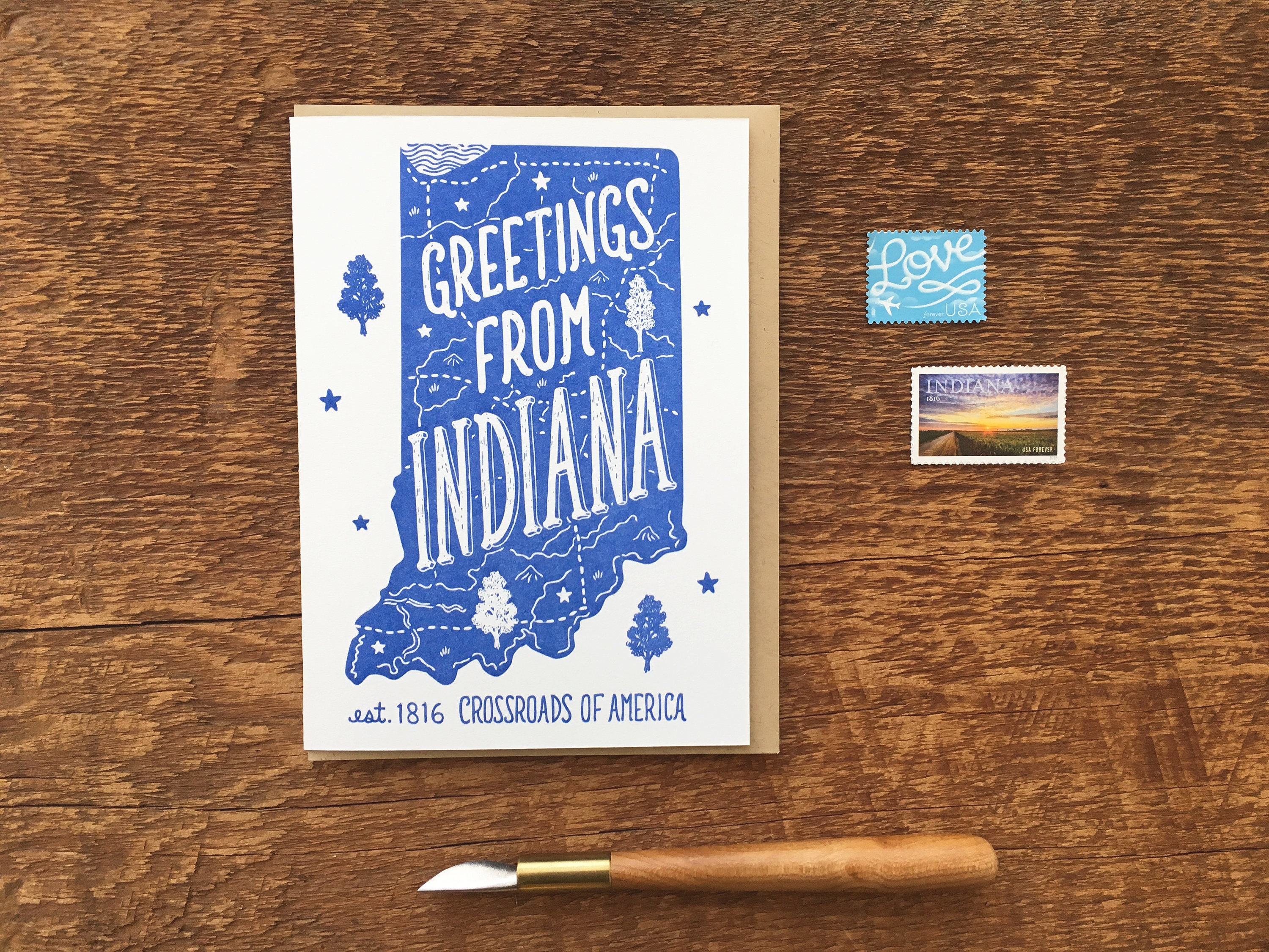 Indiana greeting card greetings from indiana a6 folded note description greetings from kristyandbryce Images