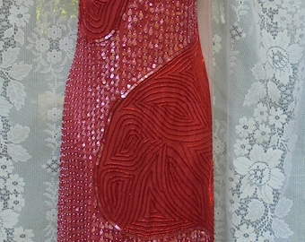 Red beaded dress   sequin vintage  cocktail evening party 80s does 20s flapper Gastsby small  medium from vintage opulence on Etsy