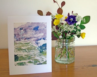 Card with original print collage inspired by a mountain landscape, mounted on a blank greetings card suitable for any occasion