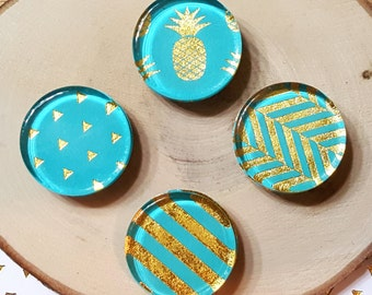 4 Blue Magnets / 1 inch, Glass, Gold, Summer, Fridge, Magnets / Stripes, Pineapple, Triangles / Gift under 5, Birthday Gift, Home Decor