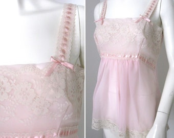 Vintage 1970s Sheer Pink Camisole with Lace and Ribbon from the Keely Smith Estate in Palm Springs