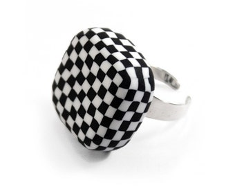 Black and white statement ring - graphic checkerboard square ring - polymer clay and sterling silver jewelry