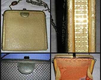Vintage 1960s CREAM satin lined mesh/gold hardware ladies handbag by Park Lane (m/in Australia) ft logo embellished long gold shoulder chain