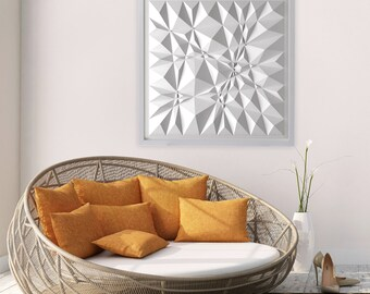 Geometric Art-White Paper Relief-Modern Minimal Sculpture-Abstract Wall Decor-By Kubo Novak-Original-Sketch-S88