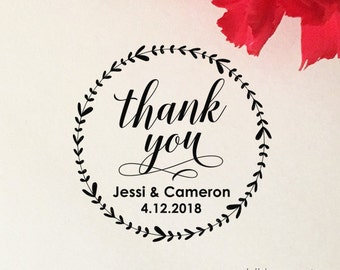 Thank You Stamp, Custom Wedding Favor Stamp, Self Inking Stamp, Wood Stamp, Calligraphy Thank You Stamp, Personalized Stamp, Floral Wreath
