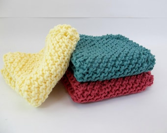Knit Cotton Wash / Dish Cloths Set of 3 Country Red Yellow and Teal