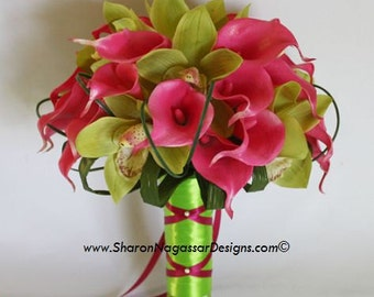 Pink/deep/hot, lime/green, bouquet, Real Touch flowers, silk/artificial, calla lily/lilies, cymbidium, orchid/orchids, wedding, set