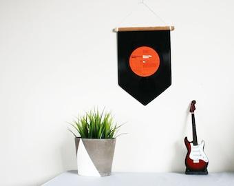 Orange Vinyl Record Pennant Flag | Music Home Decoration | Wall Hanging