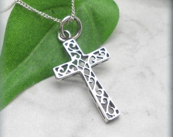 Sterling Silver Cross with Scrollwork Inset, Easter Necklace, Religious Pendant, Confirmation, Baptism, Easter Gift, Faith Necklace