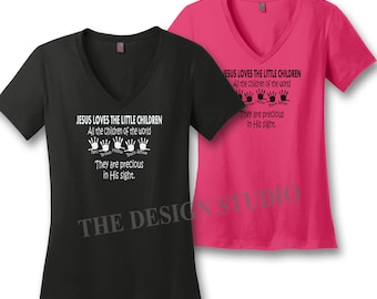 Christian T-Shirts, Custom, Jesus Loves the Little Children of the World T-shirt, Scripture Shirts, Religious T-shirt, Fundraiser T-shirt,
