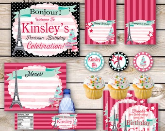 Paris Birthday Party Printables Doll Bakery Party Girl Party Printable Girly Doll Party Parisian Bakery Doll Birthday