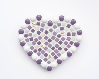 Purple mosaic heart, Mosaic heart, Mosaic wall art, Wall hanging, Mosaic, Anniversary present, Gift for her, Birthday present, Love You gift