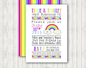 Rainbow Color Me Happy Printable Birthday Invitation with Party Package Options