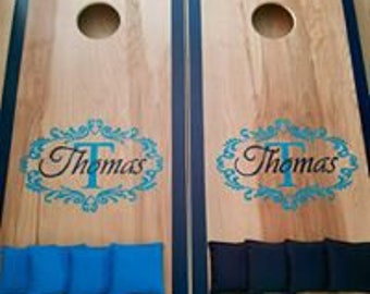 Elegant Monogram Wedding Cornhole Board Set & Bags for Your Wedding Reception -  Yard Game Backyard Rustic Party Fun