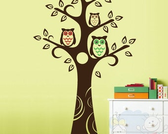 Tree Wall Decal Wall Sticker tree decal - Owls and Tree Removable Vinyl Wall Decal Nursery for Kids - TROW020