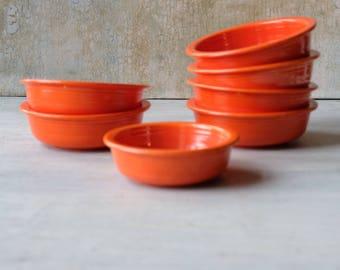 Set of 7 Vintage Fiesta Ware Radioactive Red Orange Fruit Bowls, Orange Bowls, Homer Laughlin Co , Fiestaware, Made in USA, 1930s