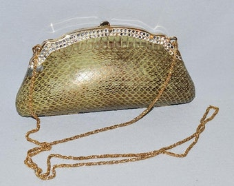 ON SALE: Vintage Clutch or Evening Bag - Snakeskin Clutch with Rhinestones and Long Gold Chain, 1980s