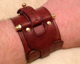 "Steampunk leather Cuff. ""The Patton Industrial protective cuff"" handmade leather cuff"