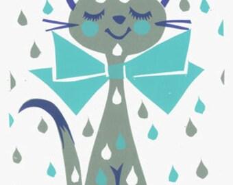 Umbrella Kitty Screen Print by Print Mafia