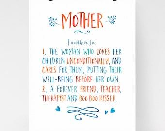 Mother dictionary wall art, mother definition, mom gift, mother's day art print, appreciation gift, calligraphy art, watercolor