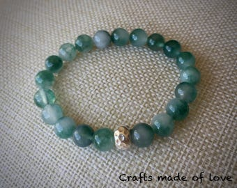 Green marbled stone and silver beaded bracelet