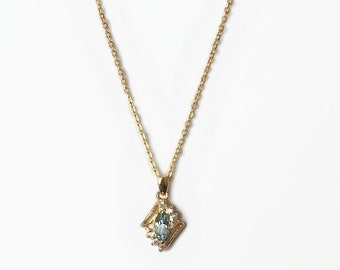 Vintage 1980's Gold Pale Blue Topaz Clear Crystal Diamond Shaped Pendant Necklace 18 Inches