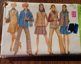 Vintage Women's Dress. Slacks, Vest, Jacket Pattern , Sizes 14