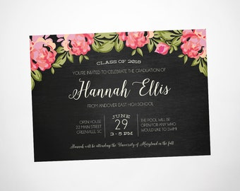 Roses graduation party invitation, floral graduation open house or graduation party invitation for her, class of 2018