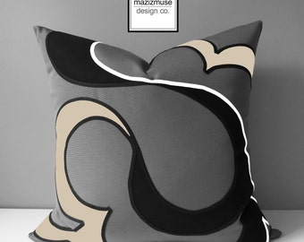 Decorative Grey & Beige Outdoor Pillow Cover, Modern Sunbrella Pillow Case, Gray Black White Abstract, Antique Beige Cushion Cover Mazizmuse