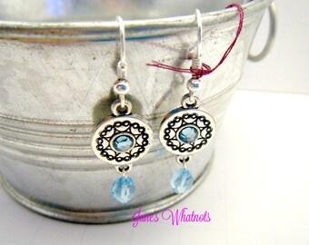 Blue stone Earrings - Silver Disc Earrings