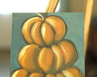 Thanksgiving, Harvest, Autumn Decor - Whimsical Urban Modern Acrylic Painting - Original Art