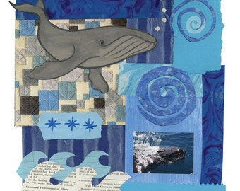 Whale Paper Quilt, giclee print