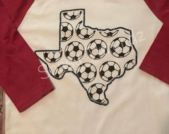 Texas Soccer Baseball Raglan
