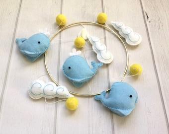 Whale Baby Mobile - Baby Mobile - Ocean Mobile - Crib Mobile - Sea Creatures Mobile