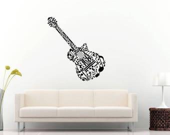 Music Notes Guitar Instrument Rock Band Wall Sticker Decal Vinyl Mural Decor Art L2296