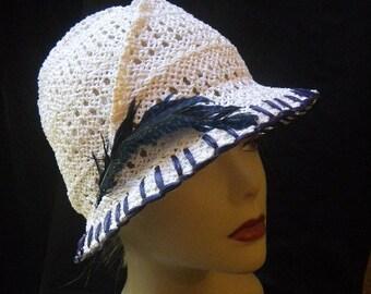 White straw Fedora  summer hat with navy blue trim