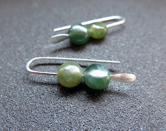 green jade earrings. Canadian jade jewelry. small earring set.